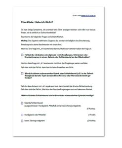Eine Abbildung der Gicht Checkliste